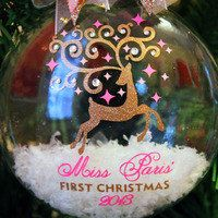Personalized Christmas Ornament Pink and by frecklefoxboutique