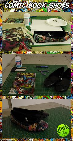 DIY COMIC BOOK SHOES! Click the pic for tutorial! diy, tutorial, comics, shoes, fashion, flats, comic books