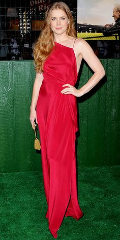 Gorgeous color, great style, easy to do with a one shoulder dress.  Amy Adams - Look of the Day - InStyle