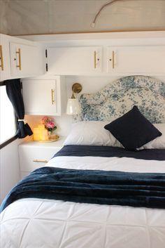 Refurbished Caravan Main bedroom double bed with lift up storage underneath. 4 berth Caravan/Camper/Poptop/RV renovation