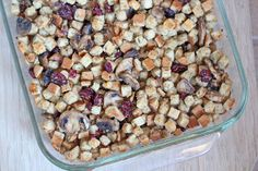 Gluten Free Cranberry Mushroom Stuffing on Under the Oaks blog : A Thanksgiving Menu for Two
