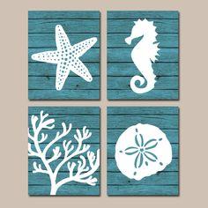 Beach BATHROOM Wall Art Canvas or Prints Nautical Nautical Bathroom Decor, Aqua Starfish Seahorse, Coral Reef, Wood Plank Design, Set of 4 - Modern Coastal Bathroom Decor, Nautical Bathrooms, Beach Bathrooms, Bathroom Wall Art, Coastal Decor, Bath Decor, Small Bathrooms, Kids Beach Bathroom, Horse Bathroom