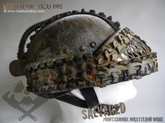 Post Apocalypse helmet armour for LARP & Airsoft. SALVAGED Ware by Mark Cordory Creations - enquiries always welcome www.markcordory.com