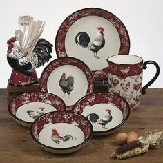Country Rooster Soup/Pasta Bowls Inches by Tina Higgins - Certified International Dinnerware Rooster Kitchen Decor, Rooster Decor, Red Rooster, Kitchen Redo, Rooster Plates, Kitchen Items, Chicken Kitchen, Chickens And Roosters, Country Kitchen