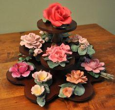 12 VTG FRANKLIN MINT CAPODIMONTE PORCELAIN FLOWERS ROSE