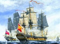 """19 December - off Murcia in the Western Mediterranean, the British frigates HMS """"Minerve"""" (40) and HMS """"Blanche"""" (32), both belonging to the command of (then) Commodore Nelson encountered the Spanish frigates """"Sabina"""" (40) and """"Matilde"""" (40)."""