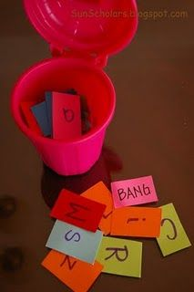 cute game-pull letters out and say them. If get the bang card, you must put the letters back.