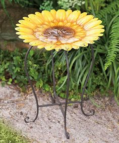 Loving this Sunflower Metal Birdbath on #zulily! #zulilyfinds
