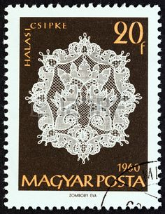HUNGARY  CIRCA 1960: A stamp printed in Hungary from the Stamp Printing, Lacemaking, Vintage Handkerchiefs, Silk Ribbon Embroidery, Vintage Stamps, Tampons, Bobbin Lace, Stamp Collecting, Arts And Crafts