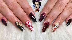 Halloween acrylic na Halloween acrylic nails scream nails jigsaw nails water decals glitterbels Black Nail Designs, Beautiful Nail Designs, Acrylic Nail Designs, Nail Art Designs, Halloween Acrylic Nails, Halloween Nail Designs, Halloween Makeup, Candy Corn, Shellac
