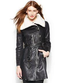Vince Camuto Faux-Shearling-Collar Belted Walker Coat