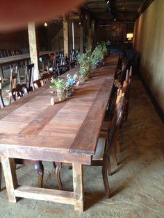 8ft Pine and Mahogany Table