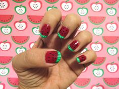 Watermelon Manicure | 20 Summery Nail Art Tutorials