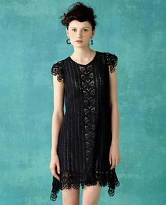 Black Strip Dress free crochet graph pattern