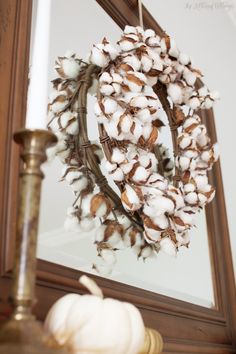 Brass Candlestick Holder | Fall Decorating Ideas | Cotton Wreath | The Lettered Cottage