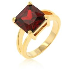 Princess Cut Ruby Gold Cocktail Ring Red Garnet Cubic Zirconia CZ Size 9 10 USA #Cocktail