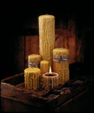 Signature Dipped Golden Beeswax Candel