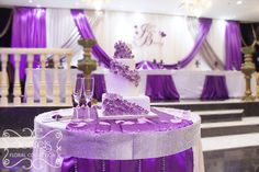 lavender and silver wedding cakes | the cake table. Beautiful hydrangea cake, surrounded with our purple ...