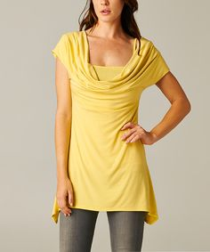 Yellow Convertible Drape Neck Top | something special every day
