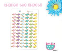 Beds Planner Stickers, Change the sheets, perfect for Planners, Erin Condren, Plum Paper, Happy Planner, Filofax, Kikki.k... de SandiaStickers en Etsy