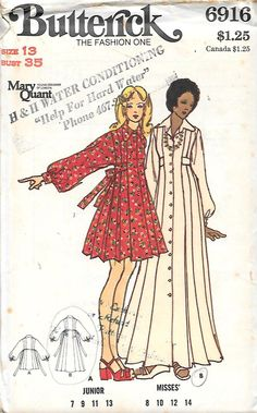 Butterick 6916 Mary Quant Young Designer of London
