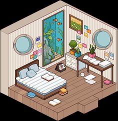 Isometric Drawing, Isometric Design, Casa Anime, Bedroom Drawing, Arte Indie, Game Room Design, Environment Concept Art, Kawaii Art, Art Background