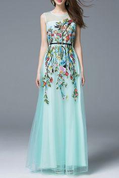 Light Blue Flower Embroidered Evening Tulle Dress