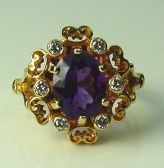 Brilliant 14Ky Gold Ring With Purple Amethyst 1.61Cttw And Diamond Melee .17Cttw