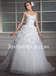 Wedding Dresses - $186.99 - Ball-Gown Sweetheart Floor-Length Organza Satin Wedding Dress With Lace Beadwork Flower(s) (002006700) http://jenjenhouse.com/Ball-Gown-Sweetheart-Floor-Length-Organza-Satin-Wedding-Dress-With-Lace-Beadwork-Flower-S-002006700-g6700