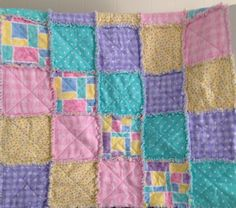 Flannel Rag Quilt, Bright Pink, Yellow, Purple, Mint Green, Baby Quilt