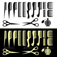 Combs and Scissors  #GraphicRiver         Set of the isolated hairbrushes and scissors. Black set on a white background. Yellow set on a black background. In the archive are EPS-8, AI, PNG and JPG . All elements on the image are collected in groups and are easily edited. Gradients were not used.     Created: 9March13 GraphicsFilesIncluded: TransparentPNG #JPGImage #VectorEPS #AIIllustrator Layered: No MinimumAdobeCSVersion: CS2 Tags: accessory #black #blade #bottle #clippers #cologne #comb…