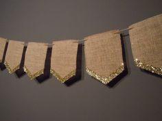 Natural Burlap 8 Pennant Banner Holiday by ThreeGoldenArrows