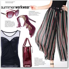 Summer Work Wear :: Stripe Chiffon Pants