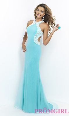 Halter Prom Dress with Open Back by Blush BL-9922 at PromGirl.com
