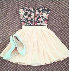 -cute black/rose zip up floral bustier, cream skater skirt, mint heels spring/summer outfit-