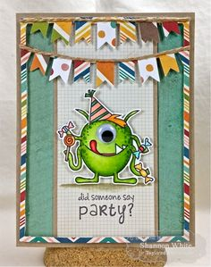 Candy Monster Party Card by Shannon White | Stamps: Candy Monster(TE)   Paper: Simple Stories I {Heart} Summer 6x6 collection, Choice Kraft CS, Choice Snow White CS (TE); Inks: Memento Tuxedo Black; Accessories: PArty Banner Cutting Plate, Candy Monster Dies (TE), Hemp Twine, Googly Eye, Copics, Foam tape.