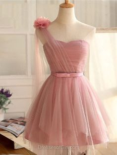 Princess One Shoulder Tulle Short/Mini Sashes / Ribbons Fashion Homecoming Dresses