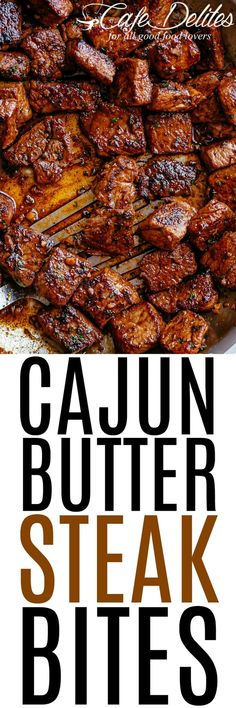 Cajun Butter Steak Bites - tender and juicy pan seared cajun butter steak bites are full flavoured with crispy edges. Ready in under 10 minutes without any marinating needed, these Cajun Butter Steak Bites are a quick and easy family favourite! Cajun Recipes, Low Carb Recipes, Beef Recipes, Cooking Recipes, Sizzle Steak Recipes, Cubed Steak Recipes, Minute Steak Recipes, Healthy Steak Recipes, Spare Ribs
