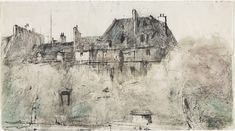 Quai des Grands Augustins from our window, Paris, (1966) by Lloyd Rees :: The Collection :: Art Gallery NSW