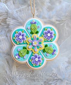 This is s one of a kind, handcrafted ornament made of durable polymer clay, with much attention given to detail and careful construction. Polymer Clay Ornaments, Polymer Clay Flowers, Fimo Clay, Polymer Clay Projects, Polymer Clay Charms, Polymer Clay Creations, Polymer Clay Art, Polymer Clay Earrings, Clay Crafts