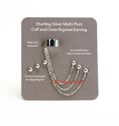 Multi Stud Cuff & Chain Bajoran Earring, Sterling Silver Triple Ball Post Single Ear Non Piercing Trekkie Techie Show Festival Comic Con 806 Tarnish Remover, Silver Gifts, Sterling Silver Cuff, Anklet, Dog Tag Necklace, Piercing, Studs, Bronze, Chain