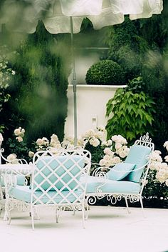 A slideshow round-up featuring 20 of the most beautiful outdoor spaces for mid-summer inspiration, with fountains and pools and gardens and outdoor living. Outdoor Rooms, Outdoor Gardens, Outdoor Living, Outdoor Decor, Outdoor Seating, Garden Seating, Garden Furniture, Outdoor Furniture Sets, Blue Furniture