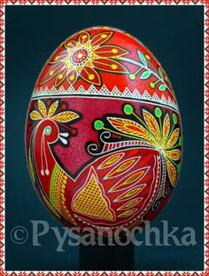 Ukrainian Pysanka Big chicken and flower