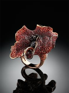 """Flowers Collection by Carlo Palmiero, """"Poppy"""" Multi-coloured sapphires, black diamond, gold."""