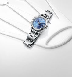 Rolex Oyster Perpetual 31 mm in Steel with a Blue Azzuro dial and Oyster bracelet R C Wahl Jewelers Rolex 116234, Rolex Watches, Man Watches, Ladies Watches, Rolex Blue, Skeleton Watches, Rolex Oyster Perpetual, Luxury Watches For Men, Fashion Bracelets