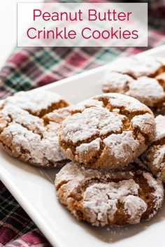 Crisp peanut butter crinkle cookies melt in your mouth. The crisp texture gives way to buttery peanut flavored cookies that are coated in sugar. Peanut Butter Desserts, Peanut Butter Cookies, Cookie Desserts, Easy Desserts, Dessert Recipes, Dessert Ideas, Dinner Recipes, Homemade Cookies, Yummy Cookies