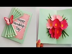 How to make Friendship day special pop up card / DIY Friendship Day Card - YouTu. Happy Friendship Day Card, Friendship Day Special, Diy Friendship Gifts, Handmade Birthday Cards, Greeting Cards Handmade, Card Birthday, How To Make Greetings, Teachers Day Card, Tarjetas Diy