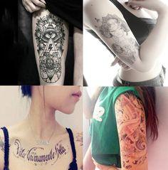 Dalin 4 Sheets Fashion Temporary Tattoos, Koi Fish, Words, Lady >>> See this great product.
