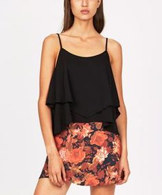 FOLKLORE DOUBLE LAYER CAMI BLACK