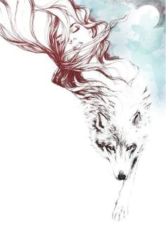 Goddess and wolf nature art